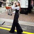 Original Nuevo Diseño 2016 Marca Mamelucos Negro Señoras Tallas grandes Casual Elegante Otoño Pierna Ancha Del Mono de Las Mujeres Al Por Mayor