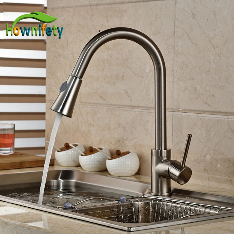 Brushed Nickel Pull Out Faucet Spout Swivel Kitchen Sink Mixer Tap Single Handle Deck Mount led spout swivel spout kitchen faucet vessel sink mixer tap chrome finish solid brass free shipping hot sale