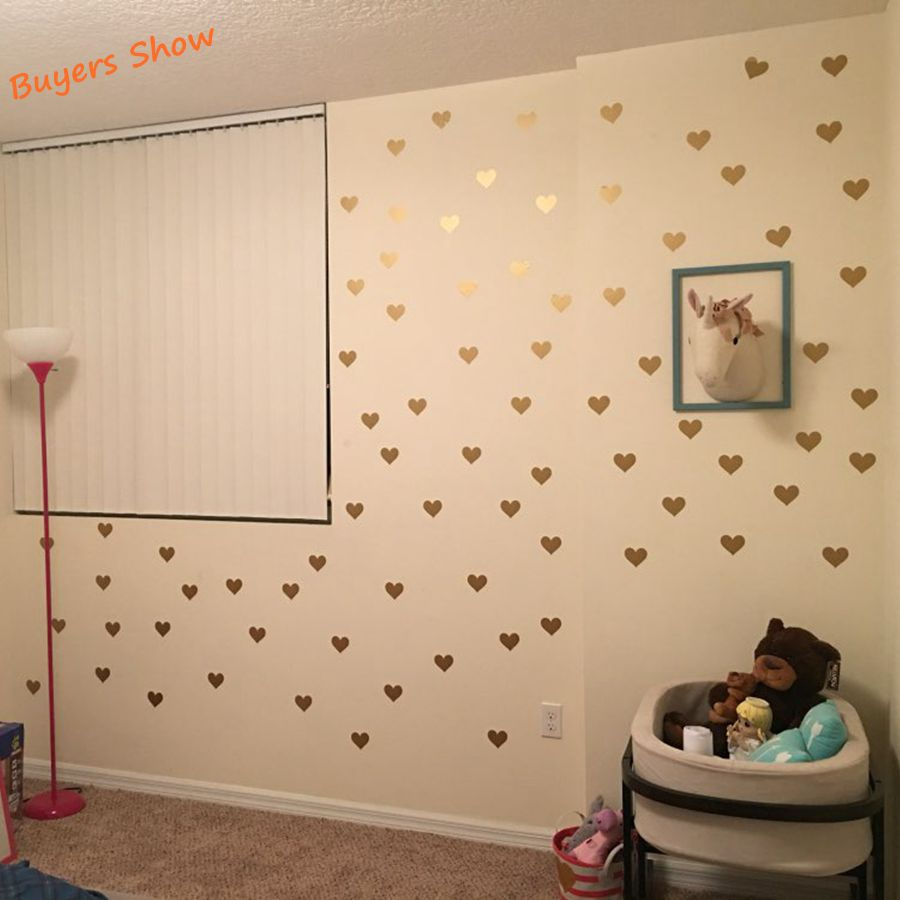 Free shipping metallic gold wall stickers heart shaped pattern free shipping metallic gold wall stickers heart shaped pattern vinyl wall decals nursery art decor little hearts stickers in wall stickers from home amipublicfo Image collections