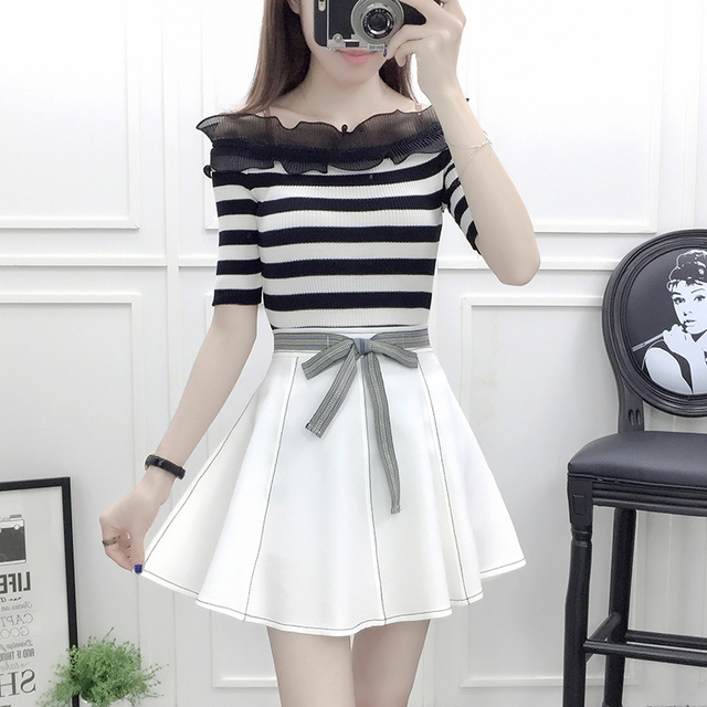 1f4988fb0d6ae sweet design fashion slash neck knit top blouse   bow pleated short skirt  suit summer girl