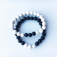 12pis/lot Handmade Lovers Elastic Bracelet Mens Natural Stones for Bracelets (8mm) Yoga Black Stones Couples Gift For Women
