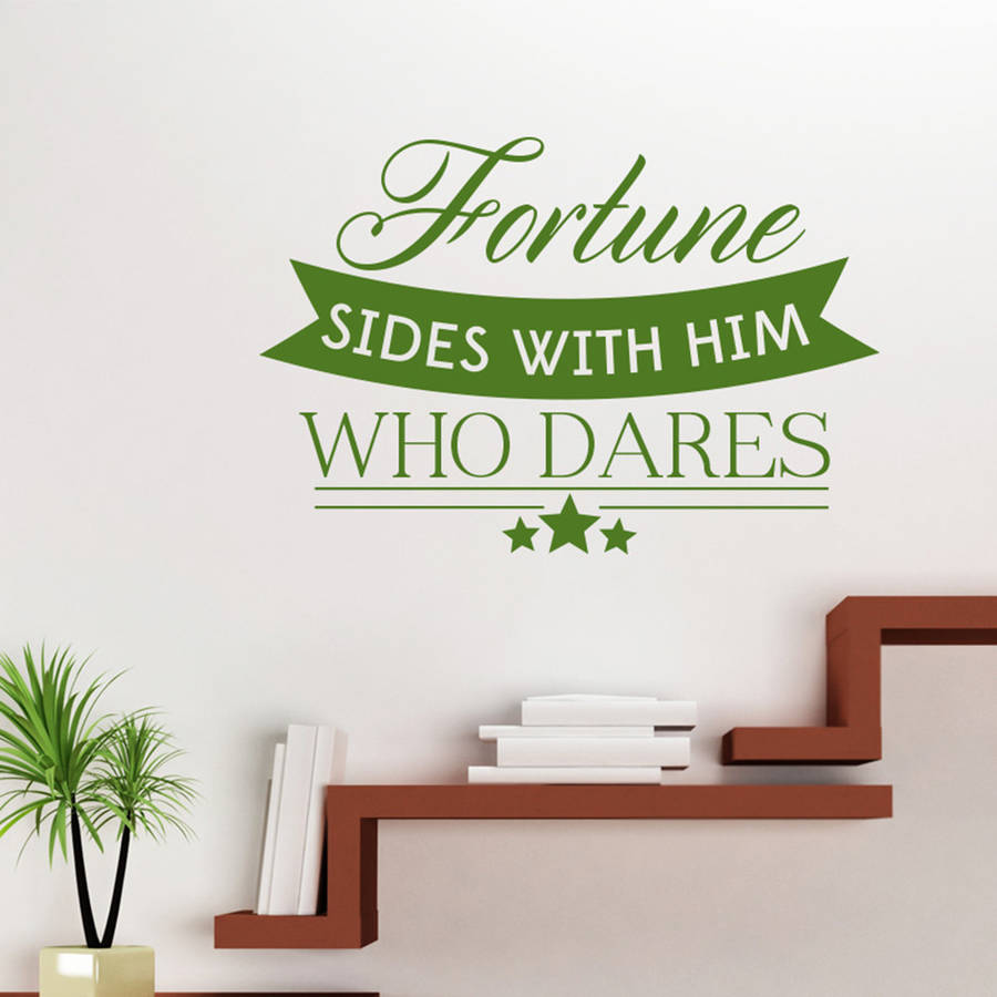 Hot DIY Wall Art Decals QuotesFortune Sides With Him Who Dares Wall Sticker For Living Room Office Removable House Decor ZA186