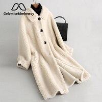 Golomise & imbetutuy настоящая композитная шуба из овечьей шерсти женская натуральная шерсть шуба/куртка с подкладкой из искусственной замши