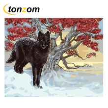 RIHE Ferocious Wolf Drawing By Numbers DIY Animal Painting Handwork Cuadros Decoracion Oil Art Coloring Home Decor