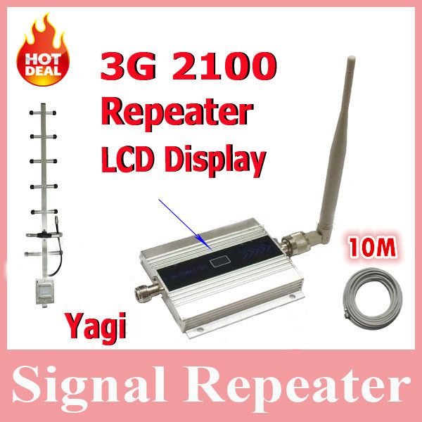 LCD Display !!! Mini W-CDMA 2100Mhz Mobile Phone Signal Booster , WCDMA 3G Signal Repeater + Yagi Antenna With 10 Meters Cable