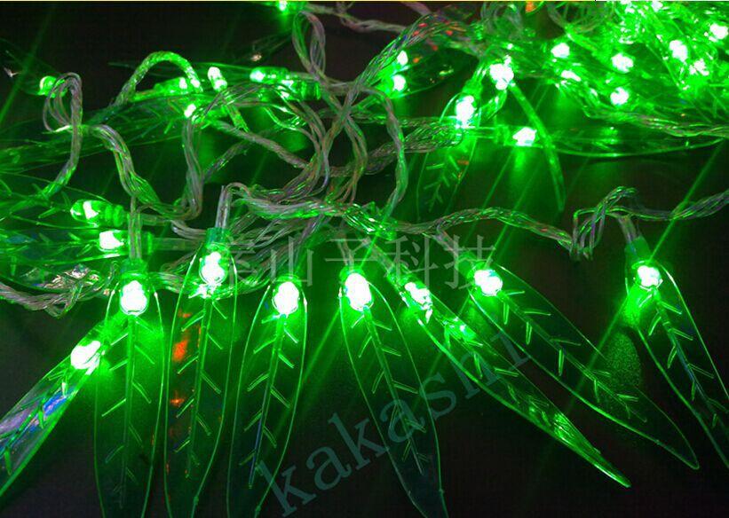 Led christmas lights green leaf v red m balls new year wedding