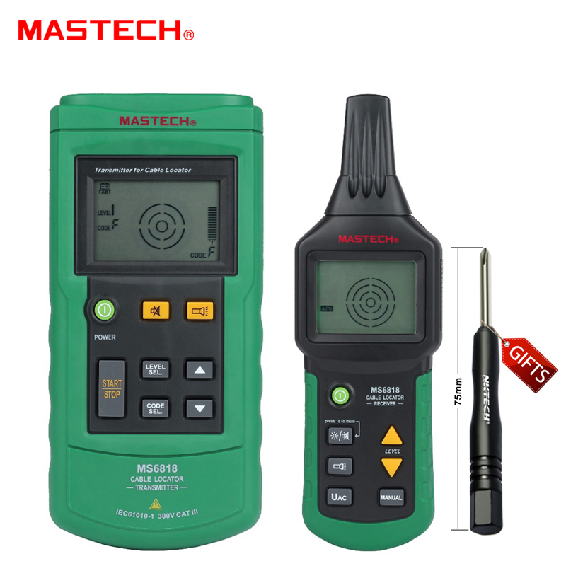 Mastech MS6818 Portable Professional Wire Cable Tracker Metal Pipe Locator Detector Tester Line Tracker Voltage12~400V mastech ms6818 portable instruments professional cable locator wire tracker pipelines detector tester ac dc voltage 12 400v