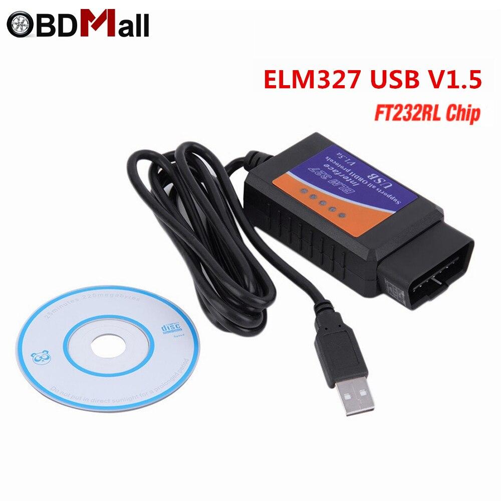FTDI FT232RL Chip!! Real ELM327 USB V1.5 OBDII EOBD Scanner Automotive OBD2 Scan Tool for PC system ELM 327 V 1.5 USB Diagnostic
