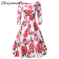Chicanary Tulipa Print Women 3 4 Sleeve Back V Vintage Dresses 1950s Swing Dance Cocktail Party
