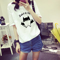 New Loose Cartoon Batman Print Women T-shirt Short Sleeve T Shirt O-Neck Girl Tops Big Size M-XXL