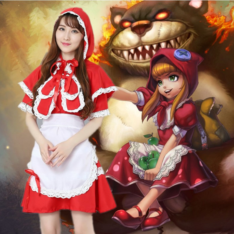 Women Little Red Riding Hooded Costume Game League Annie Cosplay LOL Sexy Woman Maid Apron Dress Uniform Fantasia Anime Uniform