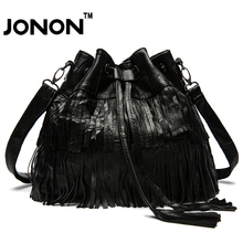JONON Vintage Brand Women Leather Bags Shoulder Messenger Bucket Bag Sheepskin Stitching Patchwork Tassel  Chain Female WHB019
