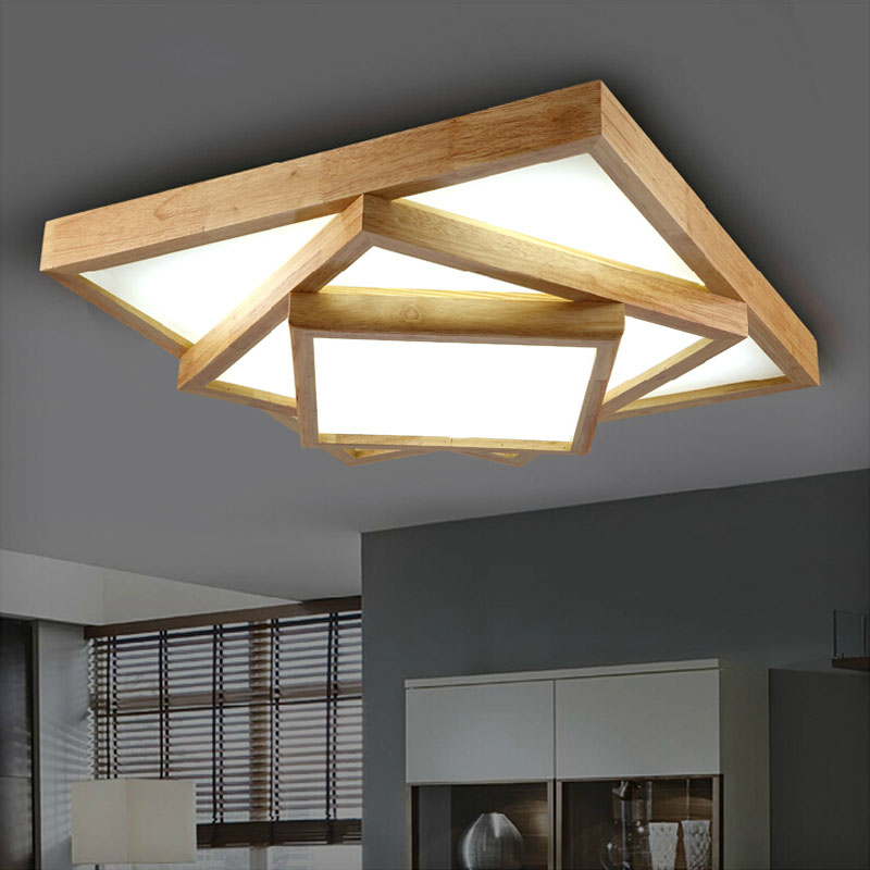 Aliexpress 2017 Moderne EICHE Wohnzimmer Fhrte Deckenleuchten Japanischen Stil 2 3layer Deckenleuchte Holz Schlafzimmer Lampen 90 260 V