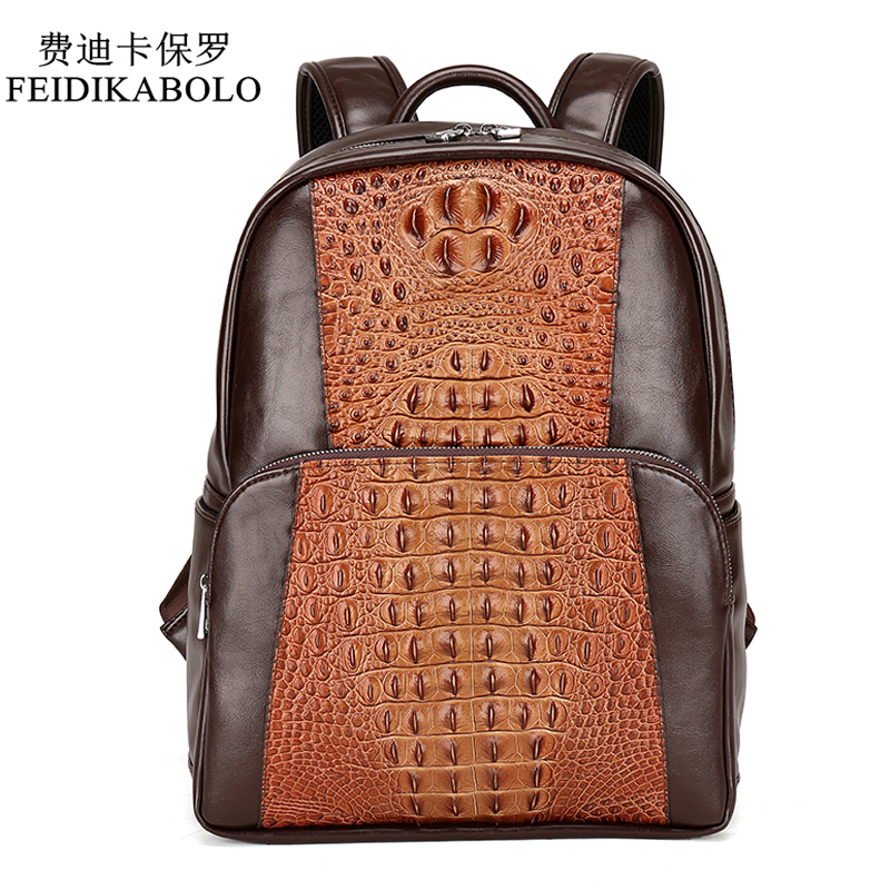 Feidikabolo  Men Leather Backpack Men Large Capacity Rucksack Shoulder School Bag 3d Crocodile Male Back Pack Mochila Escolar