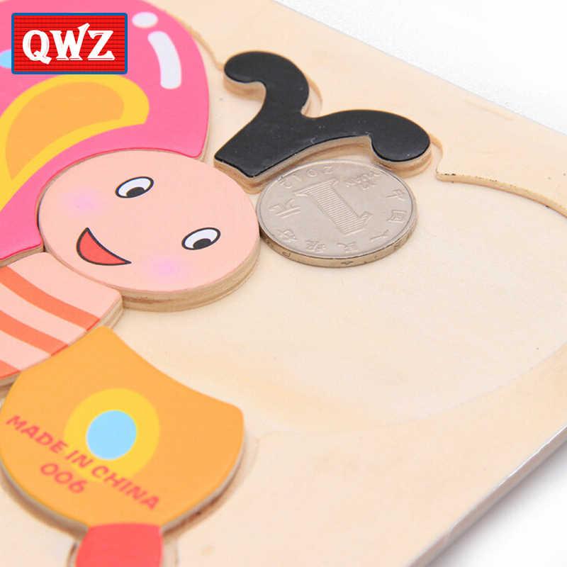 QWZ ألعاب الأطفال خشبية لغز لطيف الكرتون الحيوان الذكاء الاطفال التعليمية الدماغ دعابة الأطفال Tangram الأشكال بانوراما الهدايا