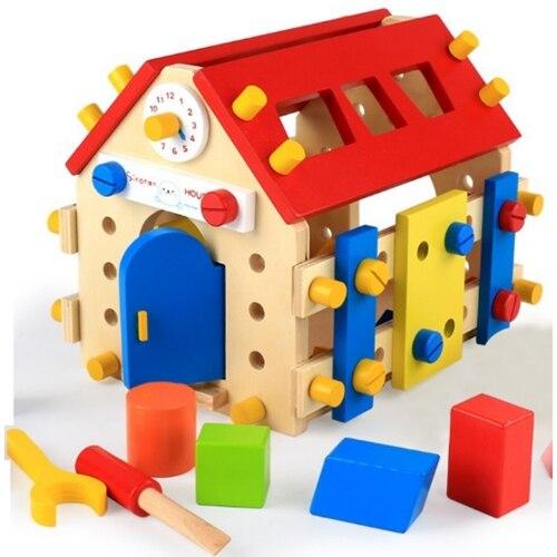 Zabawki edukacyjne Montessori drewniane śruby matematyka zabawki dla dzieci od 3 roku życia wymienny zabawki montaż model dom nauka brinquedos