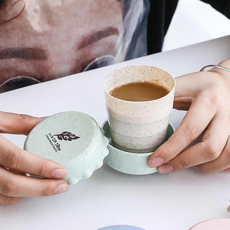1 PC Draagbare Plastic Opvouwbare Graan Stro Telescopische Drinken Opvouwbare Camping Travel Mok 2019 Nieuwe Kopjes 4 Kleuren Thee Cup set