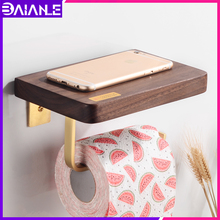 Toilet Paper Holder Creative Brass Wooden Paper Towel Holder Shelf Wall Mounted Bathroom Tissue Roll Paper Holder Rack Decorate недорого