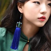 ethnic blue tassel fringe earrings for women long geometric drop green stone beads hook style vintage jewelry for party gift