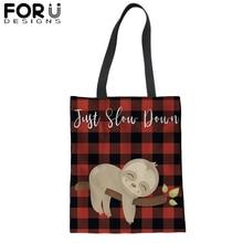 Large Canvas Tote Bag Reusable Shopping Cute Sloth Foldable Cotton Eco Grocery Bags Durable Handbag 2019