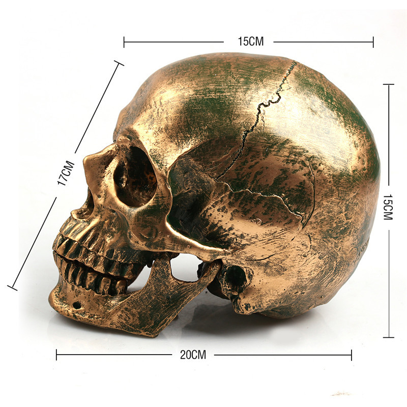 P-Flame Bronze Human Skull Resin Crafts Life Size 1:1 Model Modern Home Decor Imitation Metal Decorative Skull 2