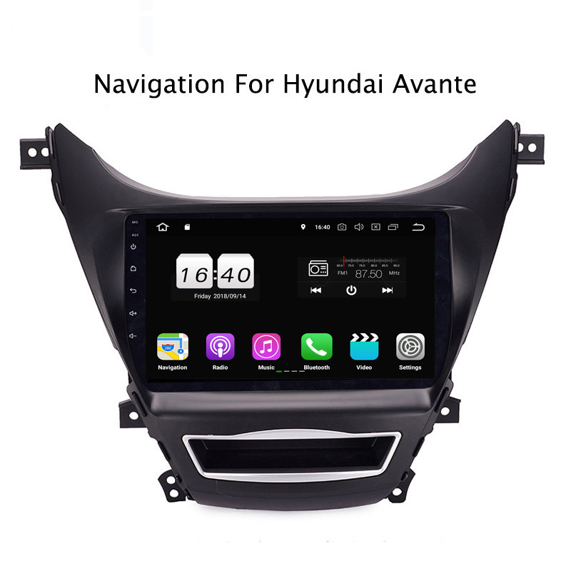 "9"" 2G RAM 16G ROM Android 8.1 Car DVD Multimedia Player For Hyundai Elantra/Avante 2012-2014 GPS Navigation Radio Stereo Audio"