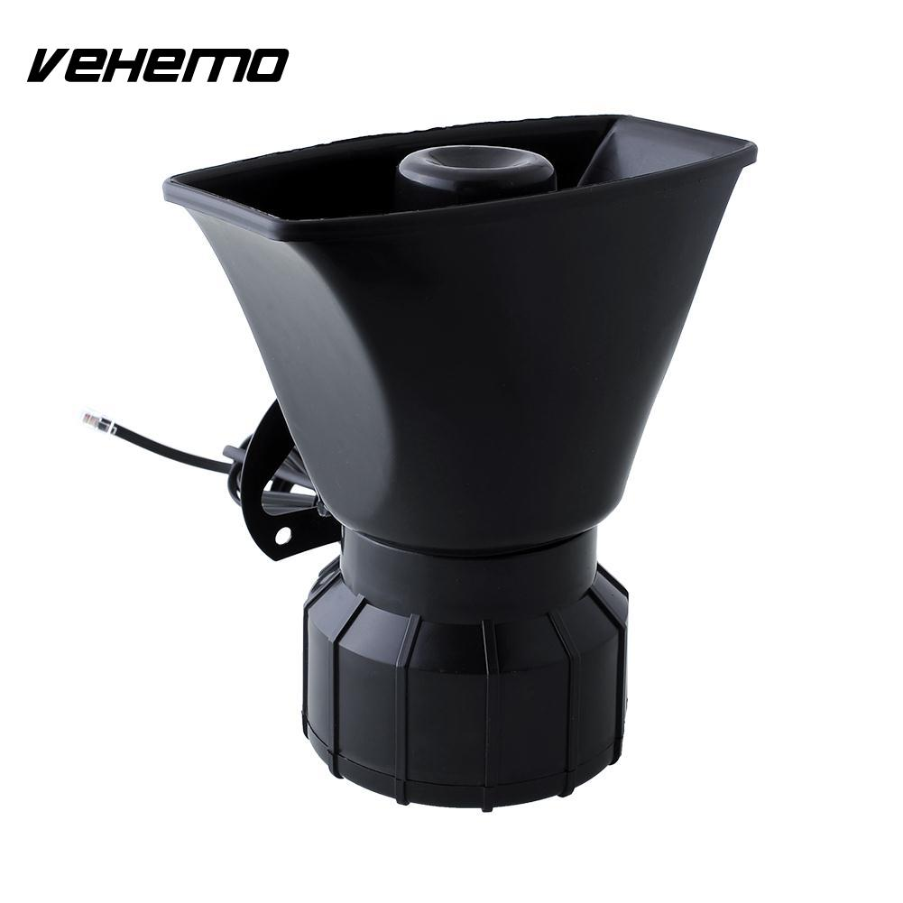 Vehemo Hot 80W 5 Sound Horn Siren PA System 12V Warning Loud Megaphone +Mic RV