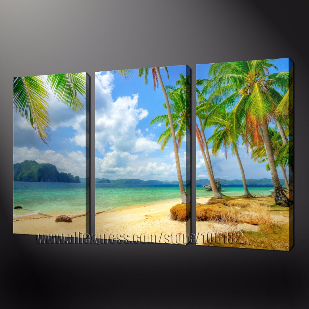 Large oil painting home decor beach wall art framed 3 panel palm tree canvas pictures 100 handpainted a0809 in painting calligraphy from home garden on