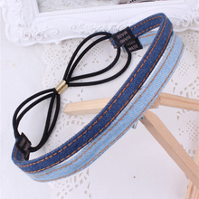 Denim Fabric Daily Use Elastic Headbands Simple Design Girls Hair Bands Solid Colour Hoop Accessories For Women