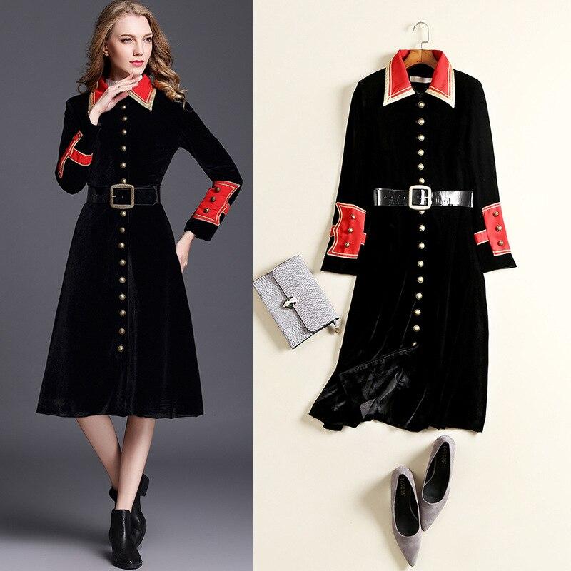 Femme Long Pardessus Mode Black Tranchée Automne Noir Manteau Blousons Velours Vêtements Pour Ceinture De Femmes Mince vnfP47