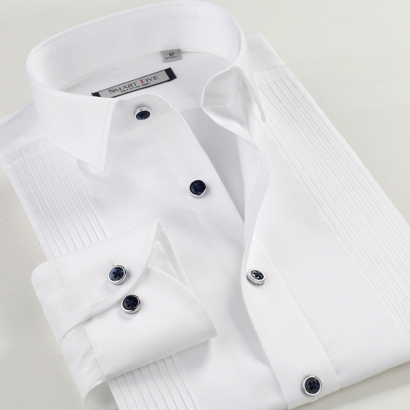 Free shipping New 2014 white mercerized cotton long-sleeve shirt male formal dress paragraph gentleman formal shirt easy care flat panel display