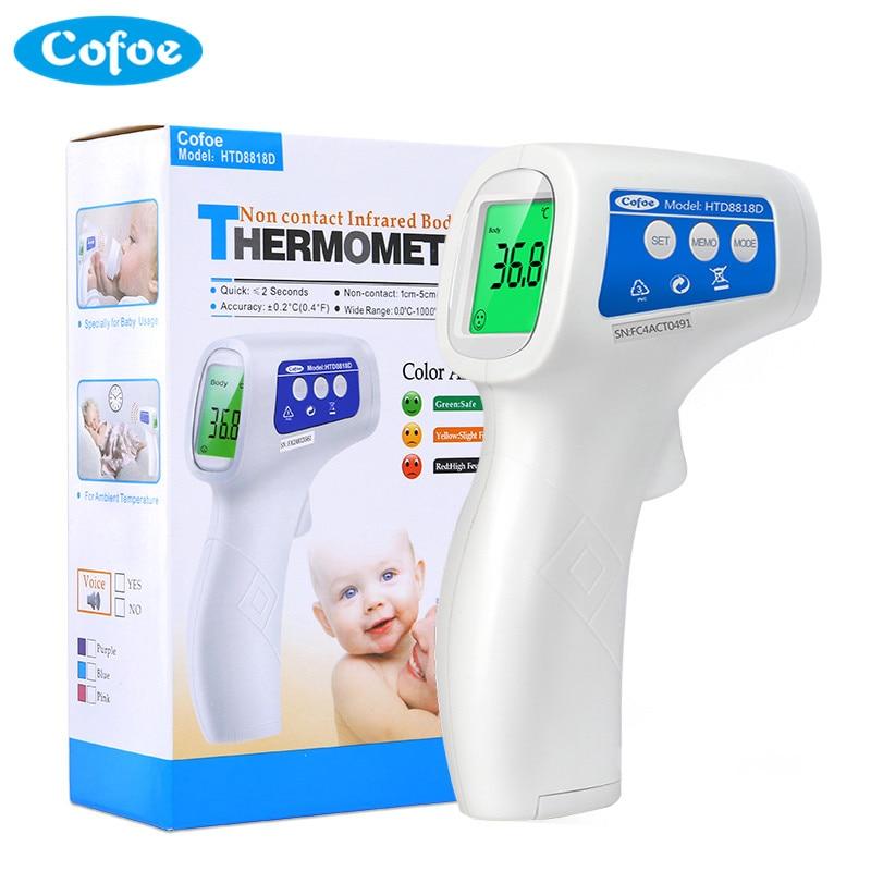 Cofoe Infravermelho Testa Termômetro Termometro Portátil Arma Dispositivo de Medir A Temperatura Do Corpo Não-contato LCD IR para o Bebê Adulto