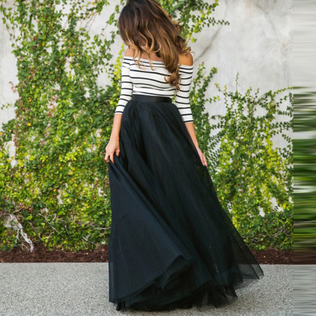 1919941ea Envío Gratis faldas largas de tul negro de cintura alta Saias Longa falda  de tul de mujer nueva moda saias femeninas formal faldas mujer