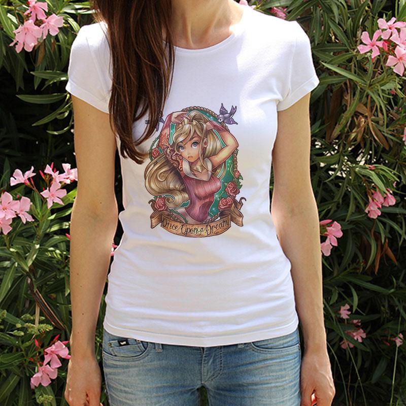 Fashion Summer Aesthetic Princess Graphic Tees Printing Streetwear Vintage Kawaii Shirts Tumblr T-shirts Women Vogue Ladies Tops