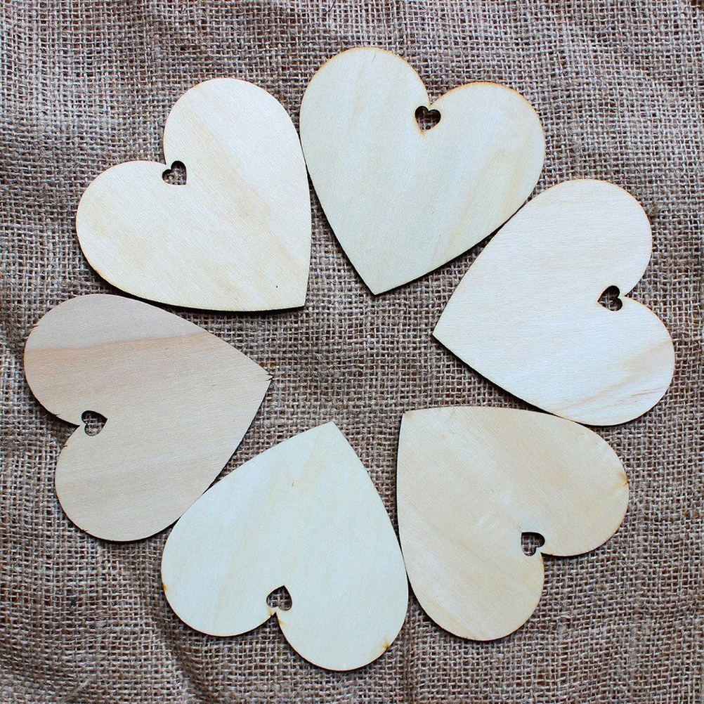 Us 8 72 40 Off 50pcs 100mm Blank Heart Wood Crafts Art Home Wedding Decoration Diy Laser Cut Rustic Wooden Craft Supplies In Party Diy Decorations