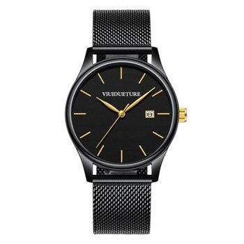 New Simple Men's Watch 2019 Stainless Steel Mesh Belt Atmospheric Quartz Men's Watch Fashion Leisure Waterproof Men's Watch