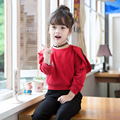 3-7T Spring Autumn Hoodies Kids Girl Cotton O-neck Sweatshirt Children Red Solid Color Fashion Clothing Child Hoodies