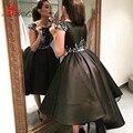 Robes De Sarau Árabe Estilo Elegante Alta Baixa Vestidos de Noite 2016 vestido de baile preto Curto Frente Longa Voltar Prom Party Vestidos de dubai