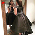 Robes De Soiree Arabic Style Elegant High Low Evening Dresses 2016 Black prom dress Short Front Long Back Prom Party Gowns dubai