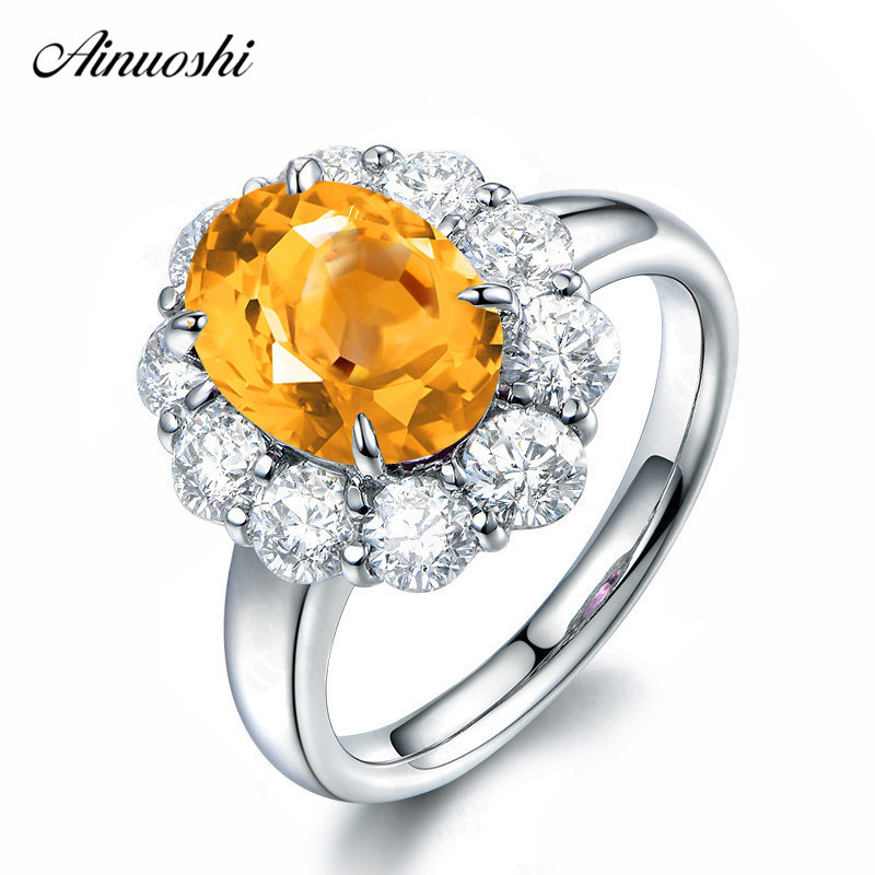 AINUOSHI Natural Citrine Big Halo Ring 3 Carat Oval Cut Gems 925 Sterling Silver Ring Engagement Party Fine Jewelry Women RingAINUOSHI Natural Citrine Big Halo Ring 3 Carat Oval Cut Gems 925 Sterling Silver Ring Engagement Party Fine Jewelry Women Ring