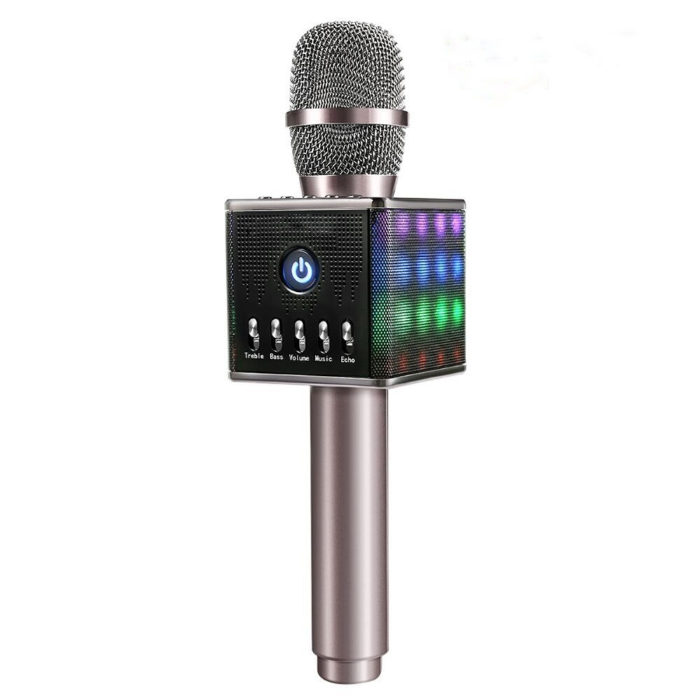 Wireless Portable Microphone H8 With Led Light Speaker