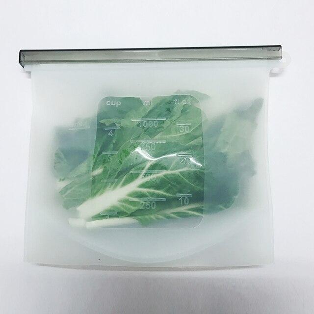 4PCS 1000ml Kitchen Food Sealing Storage Bag Reusable Refrigerator Fresh Bags Silicone Fruit Meat Ziplock Kitchen Organizer 1