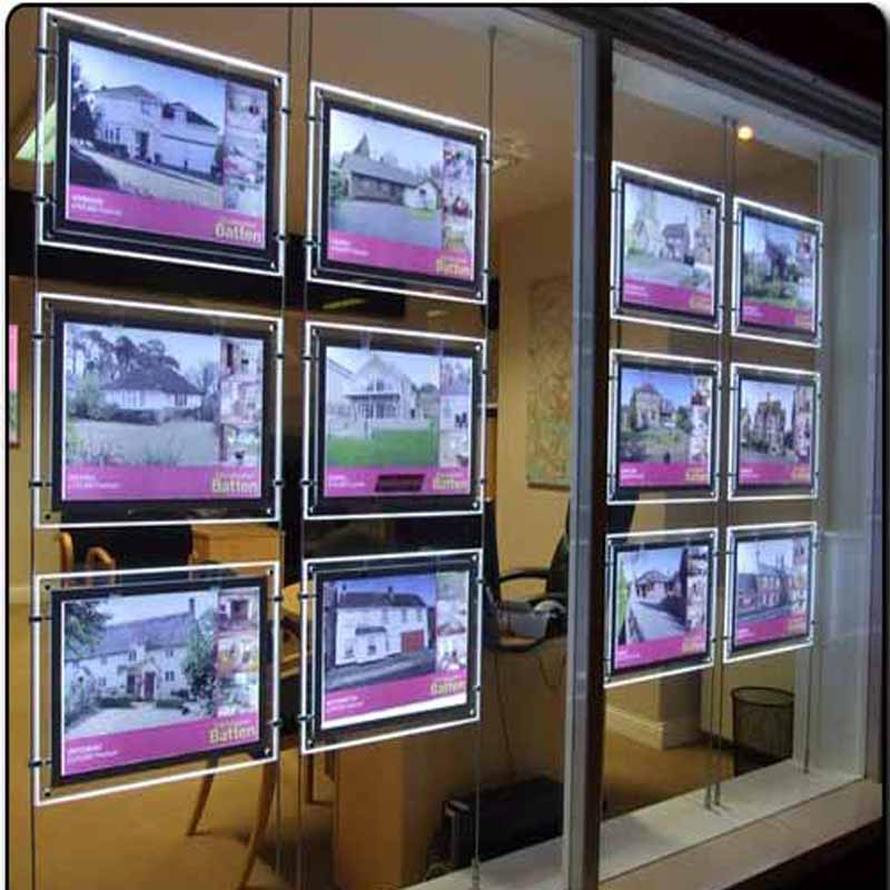 (Pack/10units) A3 Single Sided LED Real Estate Window Display, Suspension LED Light Pocket Displays,Shop Window Display