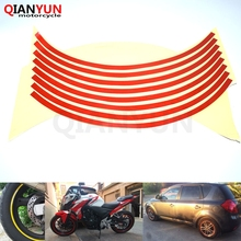 Free Shipping 16 Strips Car Styling Motorcycle Automobiles Wheel Tire Sticker On Car Rim Tape Car Sticker Parking Accessories