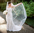 2 Meters One Layer Full Edge with Lace Wedding Veil With Comb 2017 Long Bridal Veils Velos De Novia