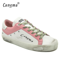 CANGMA British Style Ladies Luxury Brand Shoes White Genuine Leather Trainers Footwear Female Adult Breathable Flats