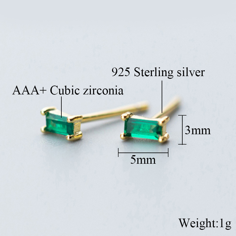 Minimalist Stud Earrings For Women party Geometric Square Green Zircon Gold Color 925 Sterling Silver fashion Jewelry