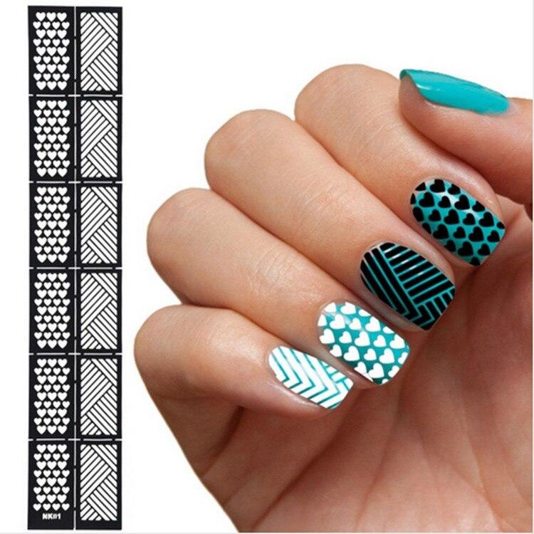 6 Styles DIY Reusable Nail Art Stamping Tool Hollow Template ...