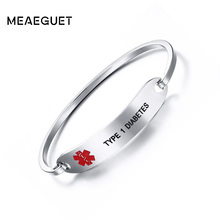 Ship From Us Meaeguet Medical Alert Id Bracelet Bangle Warfarin Blood Thinner Diabetes Coumadin Epilepsy Stainless Steel Women Jewelry