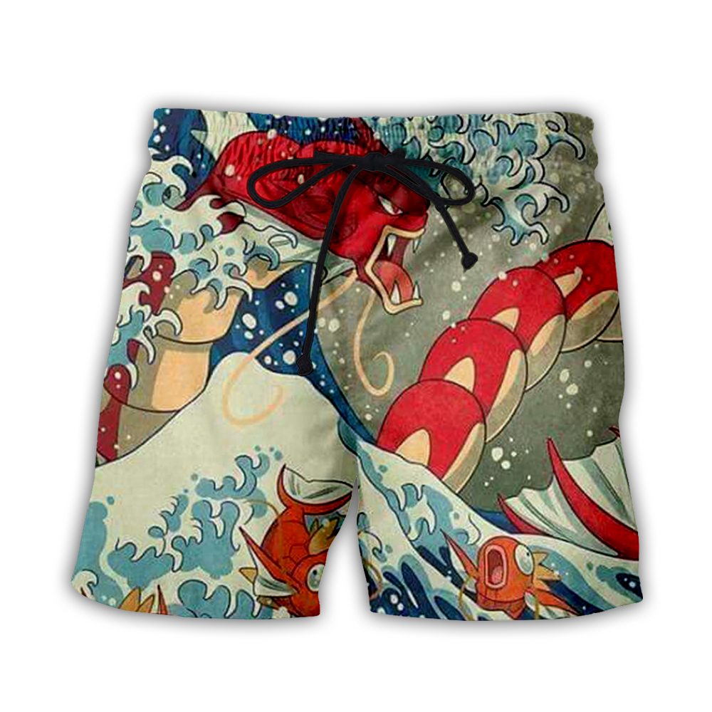 Japanese Famous Paintings The Great Men's Summer Casual Shorts 3d Print Loose Beach Brand Shorts Summer Shorts Hip Hop Style-2
